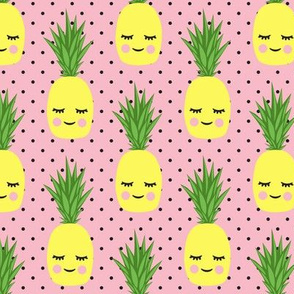 happy pineapples - pink with black  polka dots