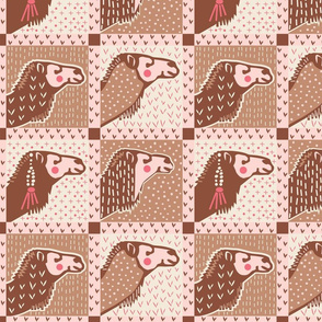 Camel Portraits in pink brown