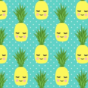 happy pineapples - polka dots on teal