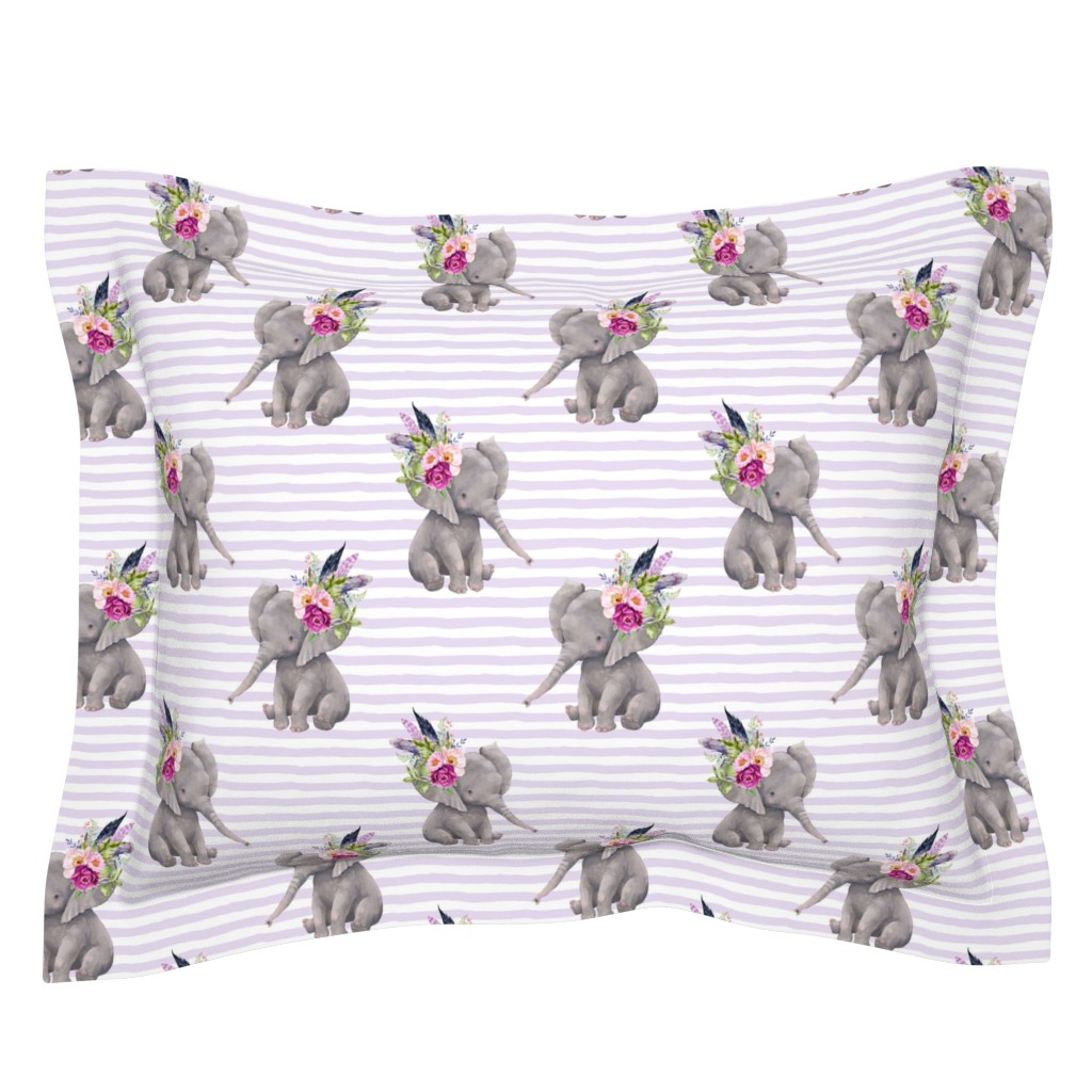 "Sebright Pillow Sham featuring 8"" Boho Lilac Elephant - Lilac Stripes by shopcabin"