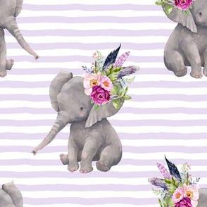 """8"""" Boho Lilac Elephant - Lilac Stripes"""