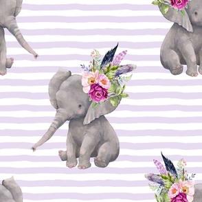 """14"""" Boho Lilac Elephant - Lilac Stripes"""