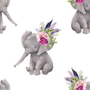 "8"" Boho Lilac Elephant - White"