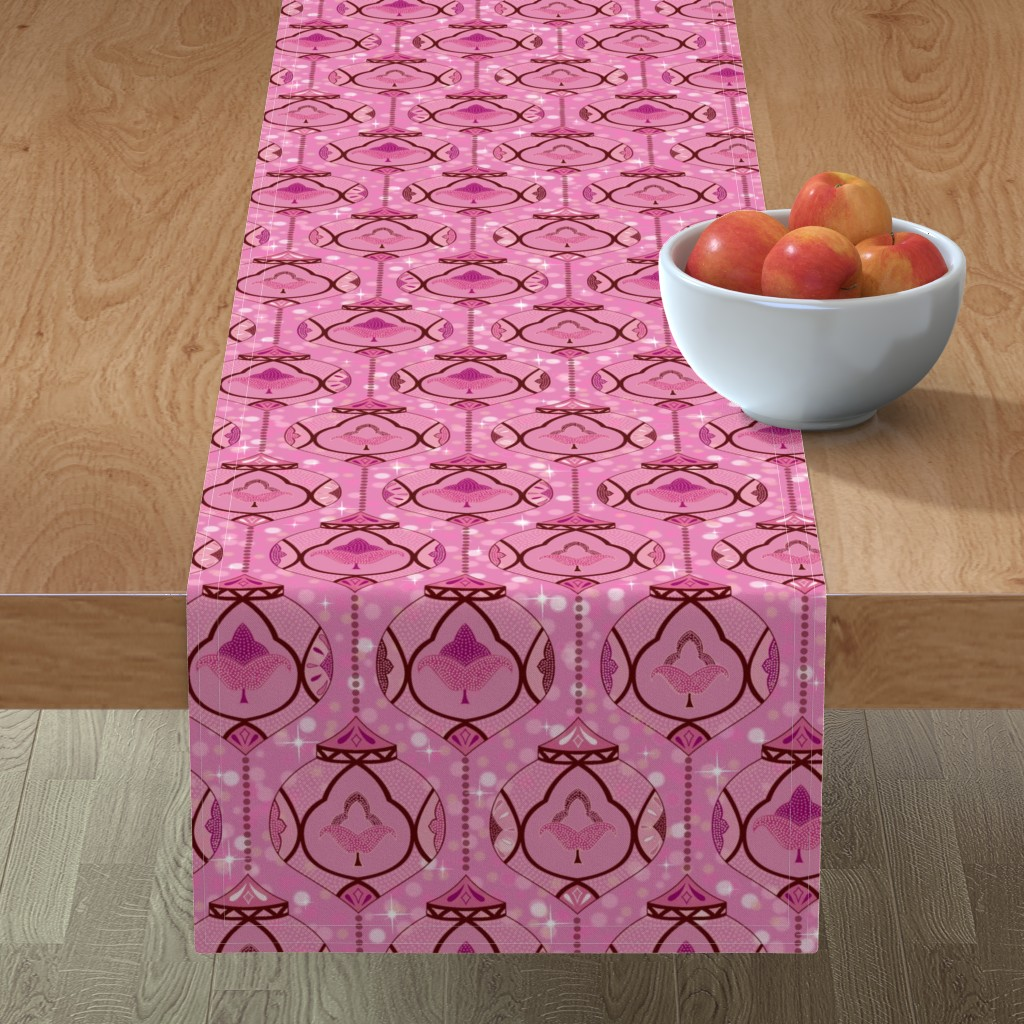 Minorca Table Runner featuring Sparkling Moroccan lamps - pink by vivdesign