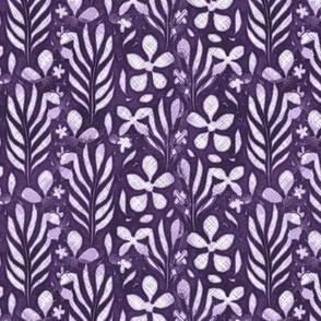 Linen Monstera Flower, Purple, Medium