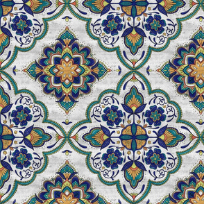 Distressed Moroccan Blooms - Navy Orange and Aqua