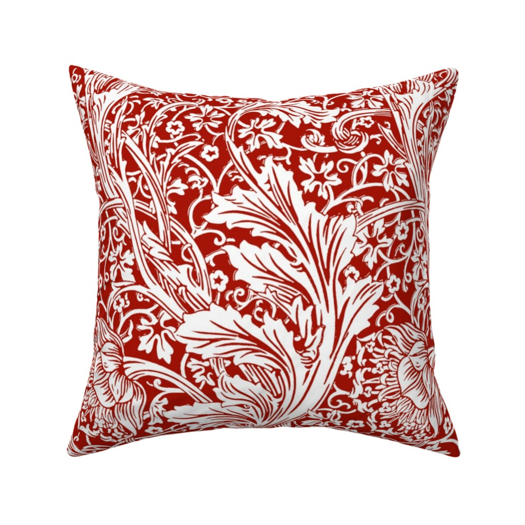 Catalan Throw Pillow Featuring Arcadia Turkey Red And White William Morris By Peacoquettedesigns