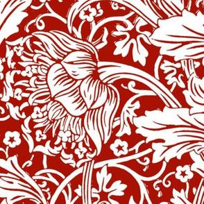 Arcadia ~  Turkey Red and White ~ William Morris