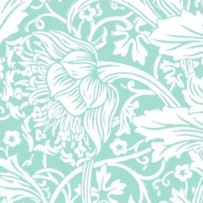 Arcadia ~ White on Mint ~ William Morris