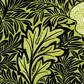 Apple ~ William Morris ~  Faux Flocked Black and White on Usurper
