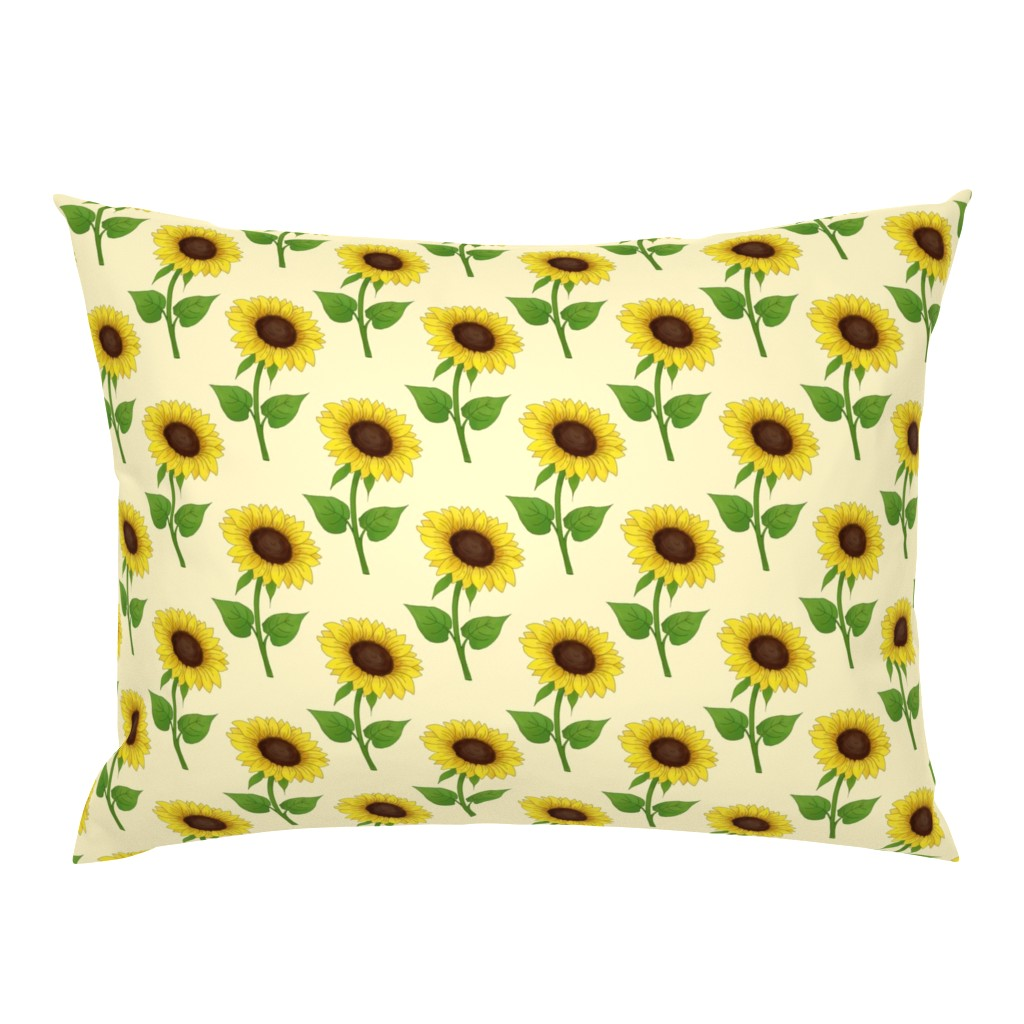Campine Pillow Sham featuring Sunflowers on light yellow by hazelfishercreations