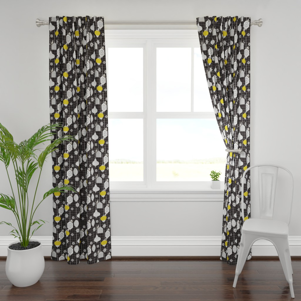 Plymouth Curtain Panel featuring A Night in Marrakech black by colour_angel_by_kv