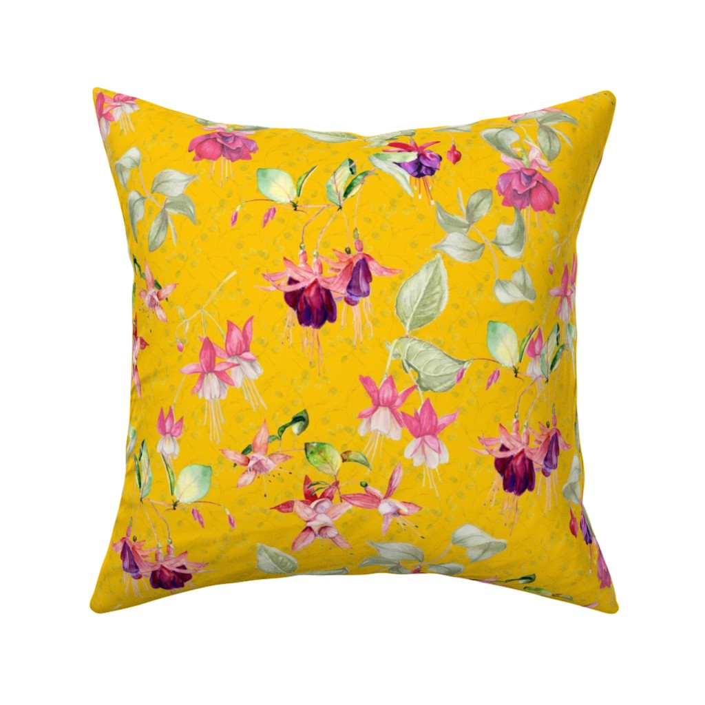 Catalan Throw Pillow featuring FUCHSIA FLOWERS WATERCOLOR ON MARIGOLD YELLOW by floweryhat