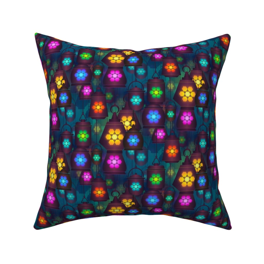 Catalan Throw Pillow featuring lantern in the bazaar by stofftoy