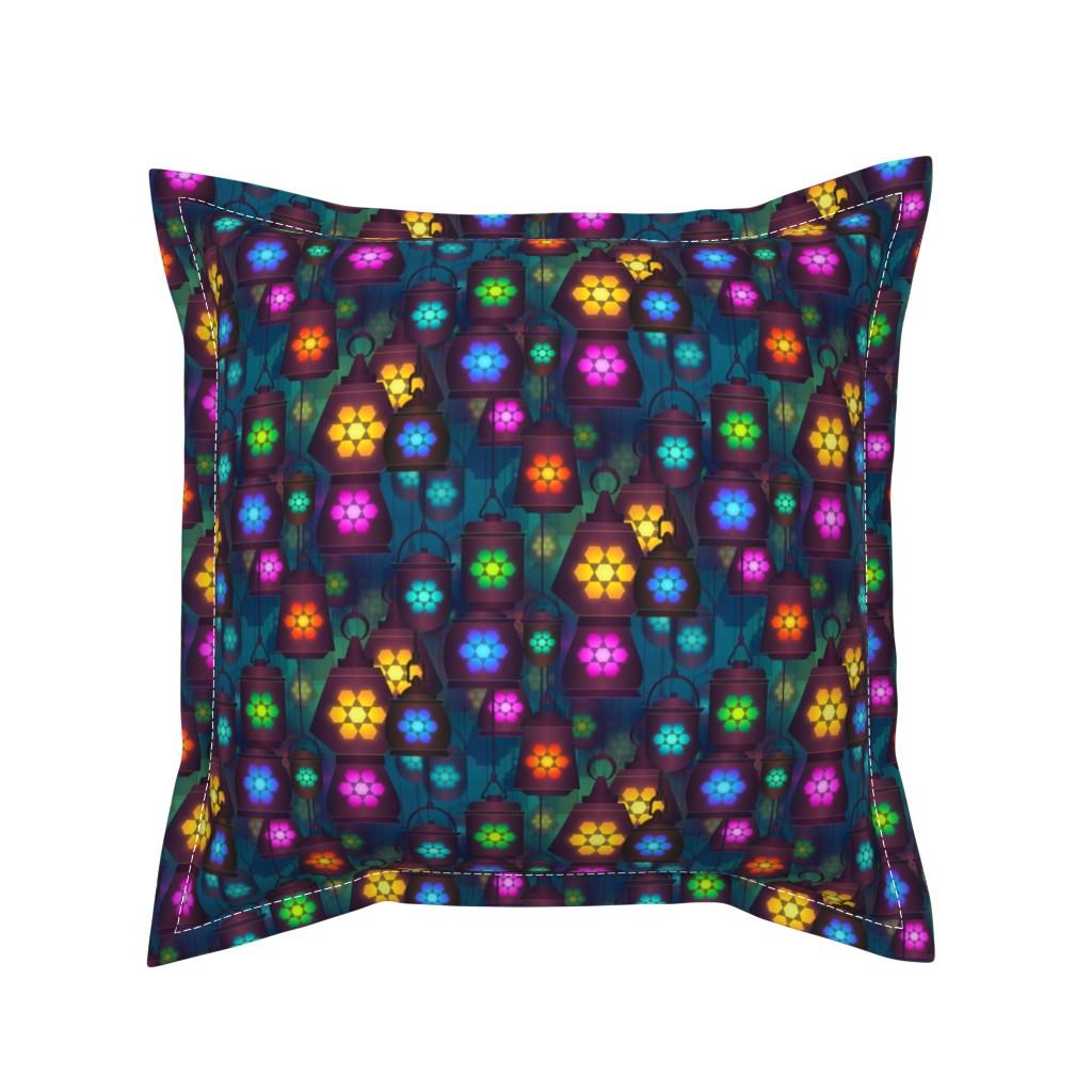 Serama Throw Pillow featuring lantern in the bazaar by stofftoy