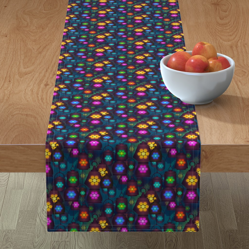 Minorca Table Runner featuring lantern in the bazaar by stofftoy