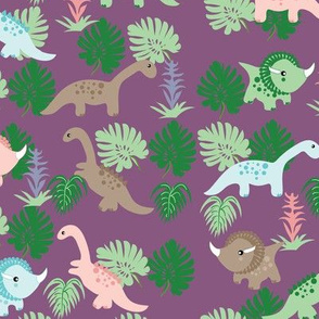 PastelDino on Purple, Cute Dinosaurs, kids fabric, childrens fabric