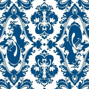 Mermaid Damask in Classic Blue