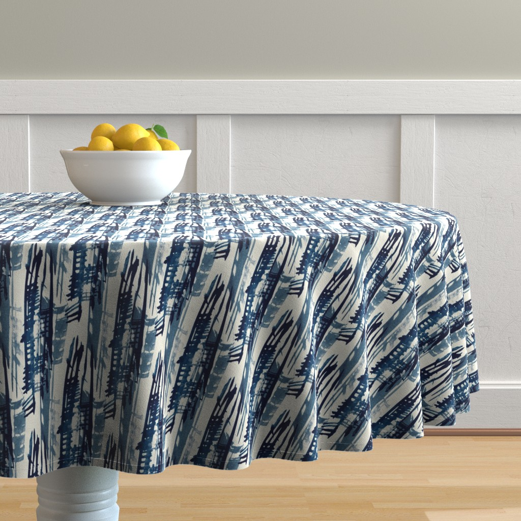 Malay Round Tablecloth featuring Indigo Inked by elizabeth_hale_design
