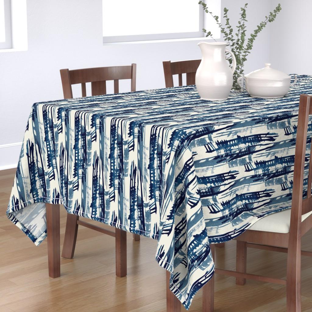 Bantam Rectangular Tablecloth featuring Indigo Inked by elizabeth_hale_design