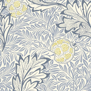 Apple ~ William Morris ~ Cornflower Blue Original on Cosmic Latte