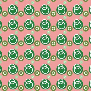 Green Link Circles on Pink