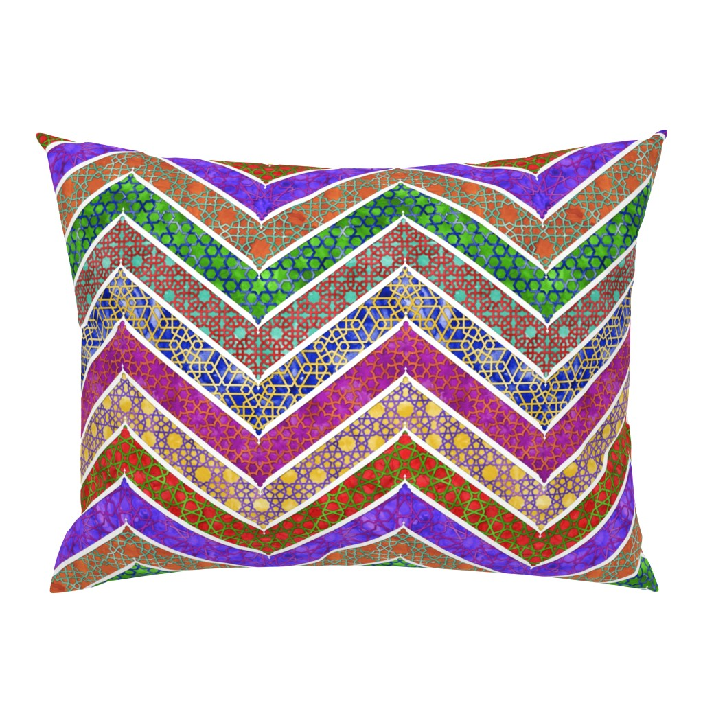 Campine Pillow Sham featuring Moroccan Watercolor Lattice Chevron by wickedrefined