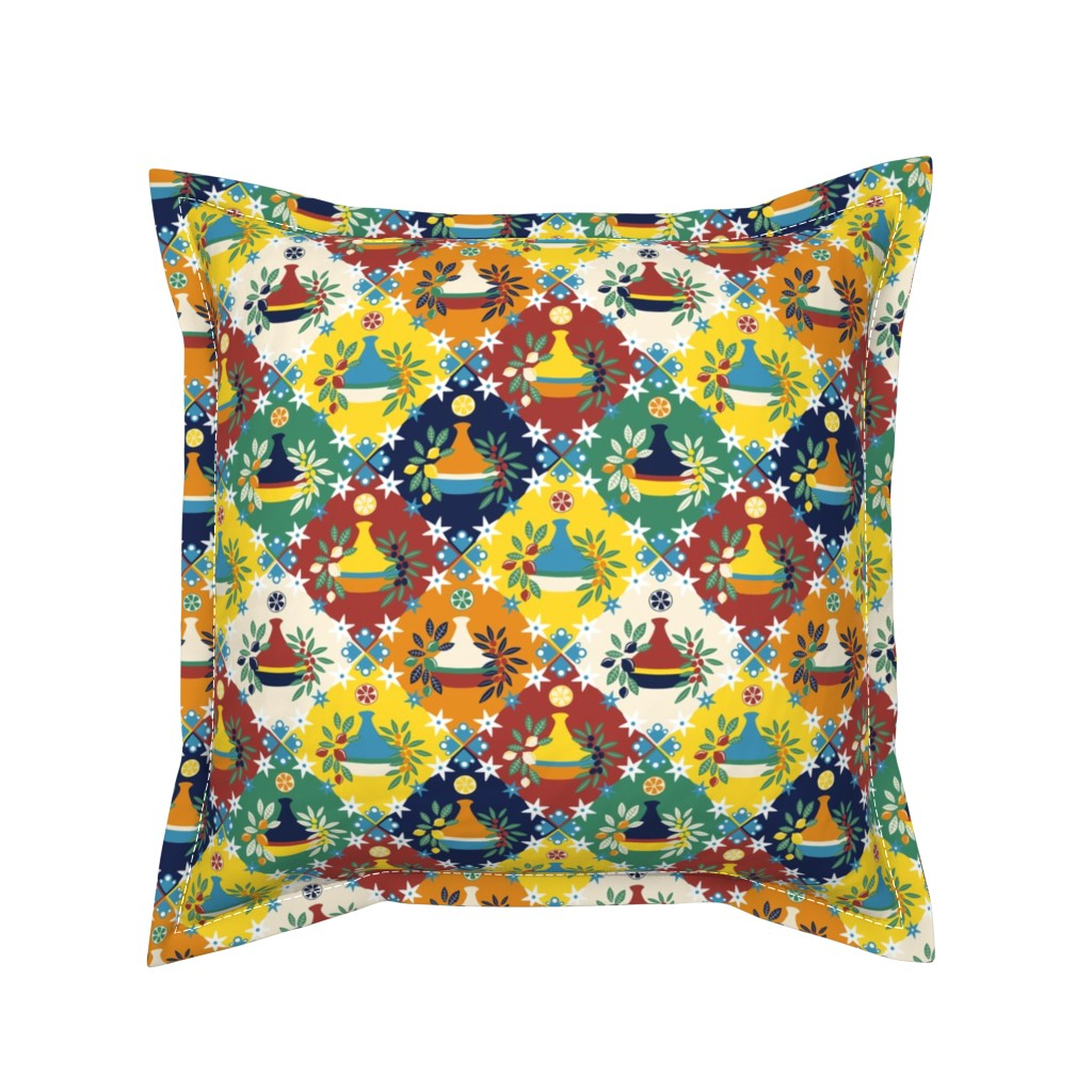 Serama Throw Pillow featuring Tagine Tile by sarahparr