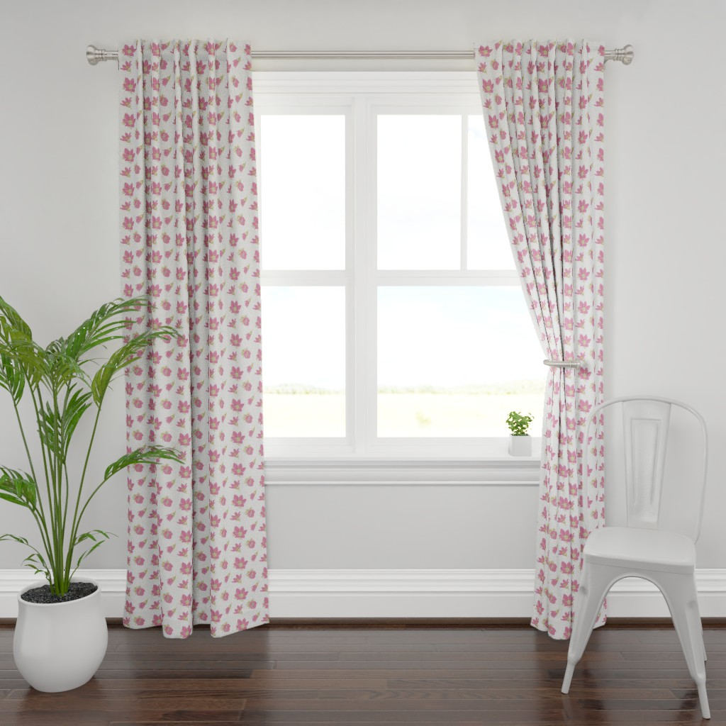 Plymouth Curtain Panel featuring Arctic Pink Pasque flower #2 (white) by helenpdesigns