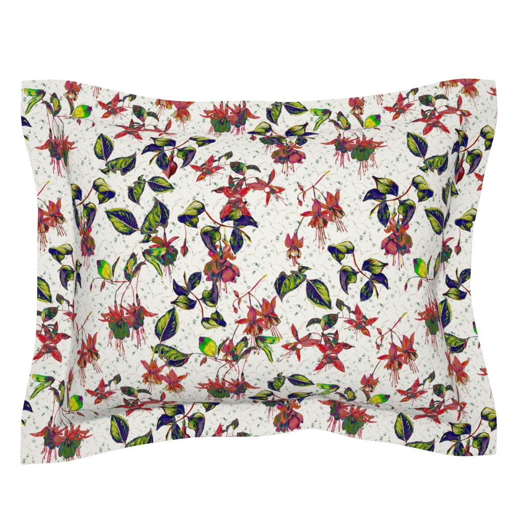 Sebright Pillow Sham featuring FUCHSIA FLOWERS CLASSIC BRIGHT ON CREAM ECRU by floweryhat
