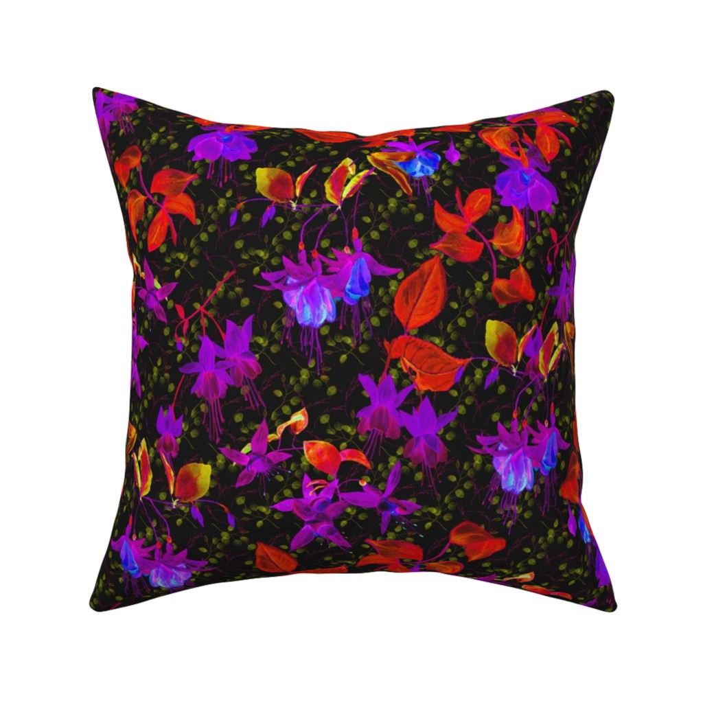 Catalan Throw Pillow featuring GLOWING IN THE NIGHT EFFECT FUCHSIA FLOWERS RED ULTRA VIOLET by floweryhat