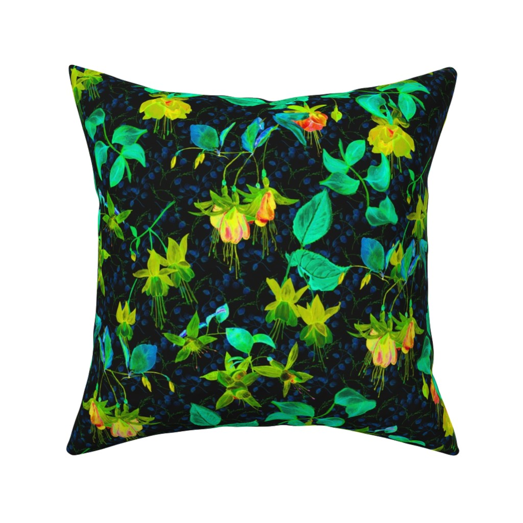 Catalan Throw Pillow featuring GLOWING IN THE NIGHT EFFECT FUCHSIA FLOWERS YELLOW GREEN by floweryhat