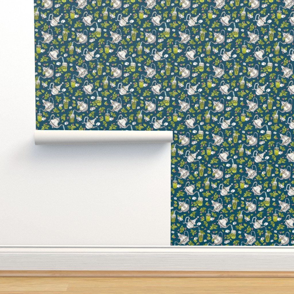 Isobar Durable Wallpaper featuring Moroccan Mint Tea by marketa_stengl