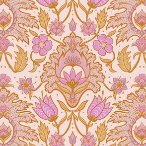 Boho Floral Tile - Pink and Ochre