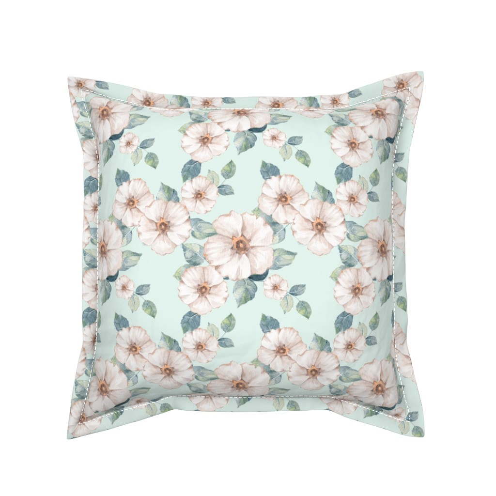 Serama Throw Pillow featuring White spring flowers by gribanessa