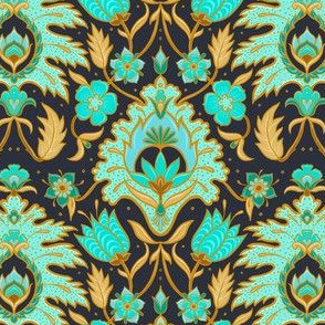 Boho Floral Tile - Turquoise and Ochre