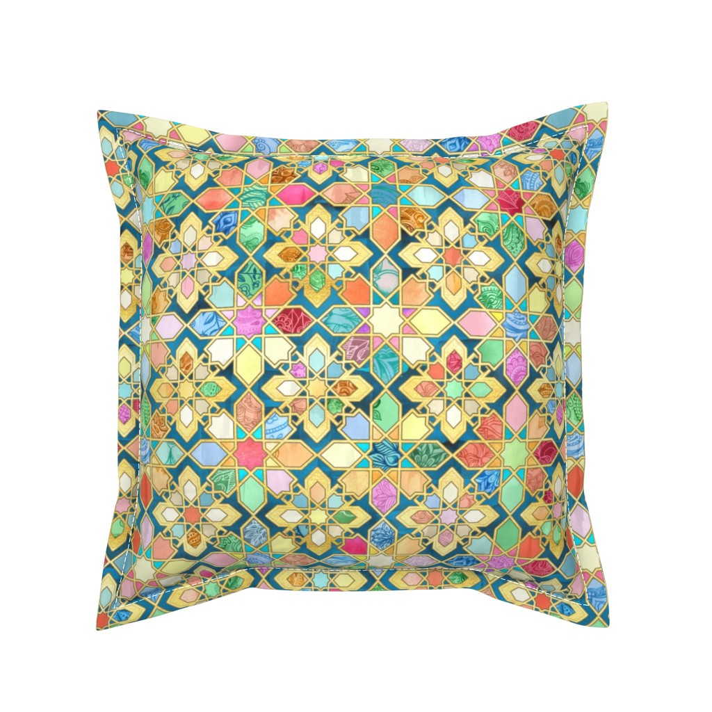 Serama Throw Pillow featuring Gilded Moroccan Mosaic Tiles - large version by micklyn