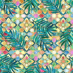 Gilded Moroccan Mosaic Tiles with Palm Leaves - small version