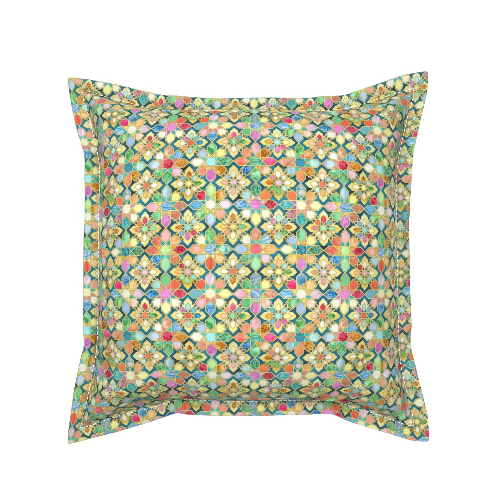 Serama Throw Pillow featuring Gilded Moroccan Mosaic Tiles - small version by micklyn