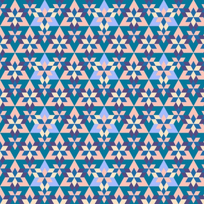 Triangles and Wreaths Pattern Blue