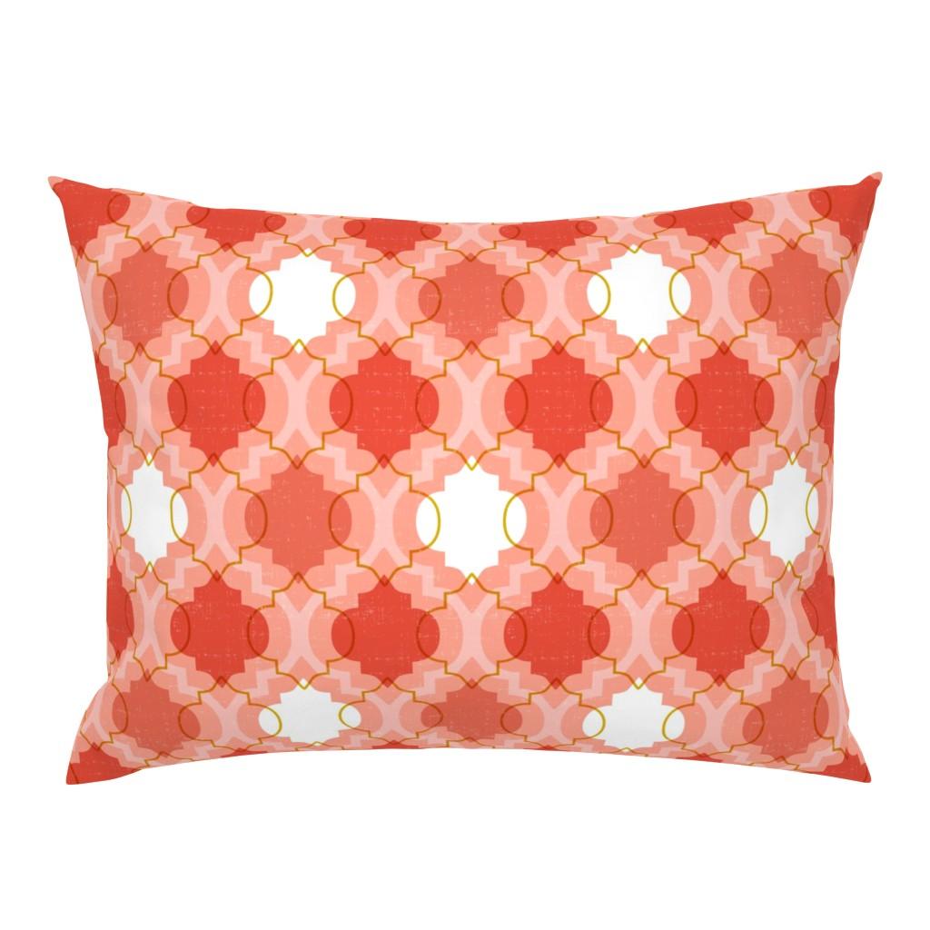 Campine Pillow Sham featuring Medina - Modern Ogee Geometric Coral by heatherdutton