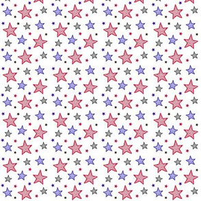 Red White and Blue Stars on White Tiny / Patriotic Americana Fourth of July