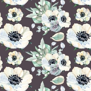 Tennessee Flowers Pattern Grey Purple 6""