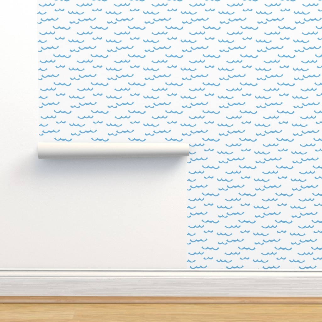 Isobar Durable Wallpaper featuring blue waves on white by lilcubby