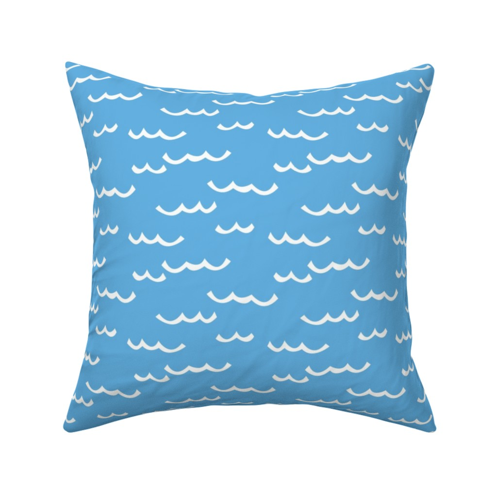 Catalan Throw Pillow featuring white waves-on-blue by lilcubby