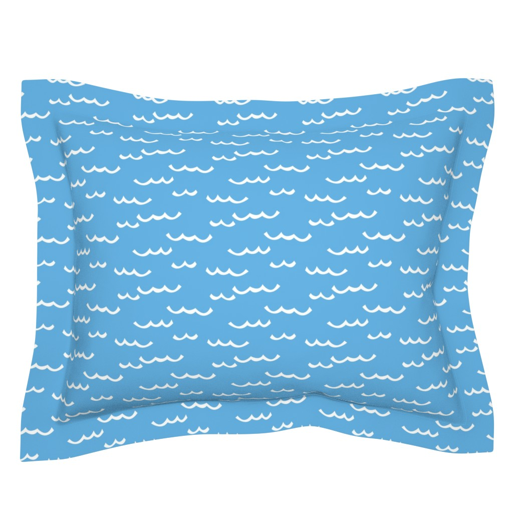 Sebright Pillow Sham featuring white waves-on-blue by lilcubby