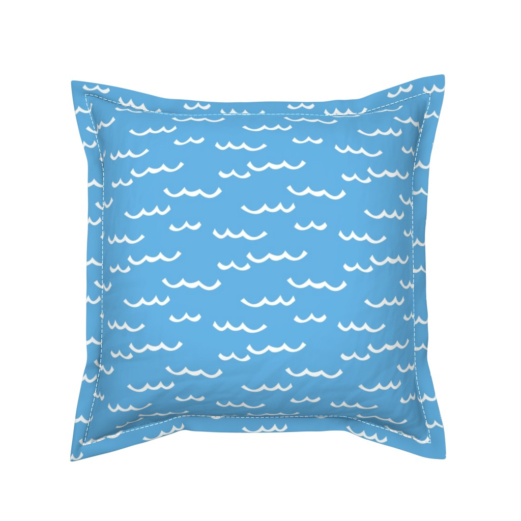 Serama Throw Pillow featuring white waves-on-blue by lilcubby