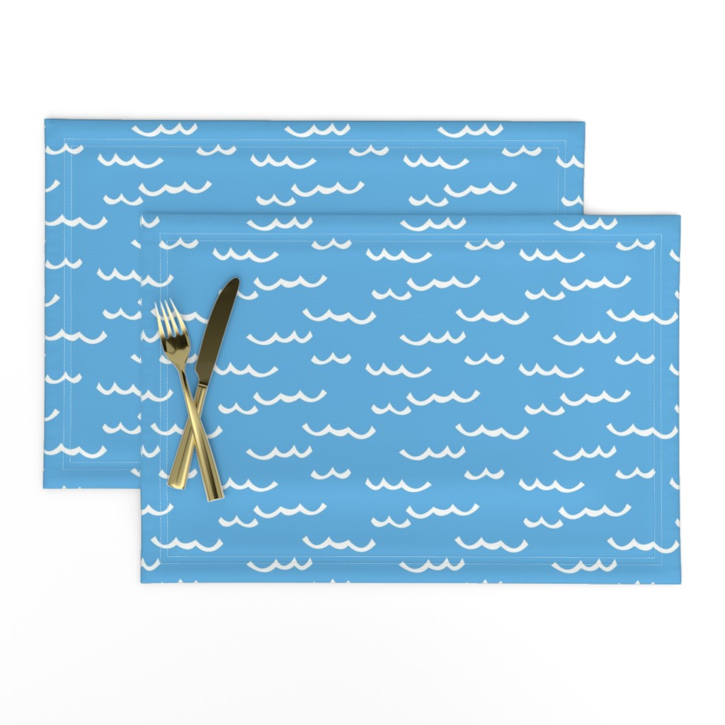 Lamona Cloth Placemats featuring white waves-on-blue by lilcubby