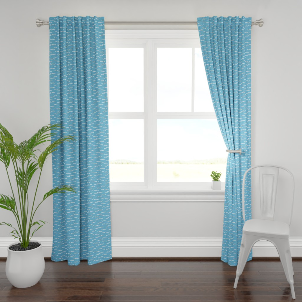 Plymouth Curtain Panel featuring white waves-on-blue by lilcubby