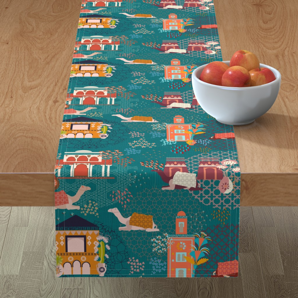 Minorca Table Runner featuring Streets of Marrakesh by another_village